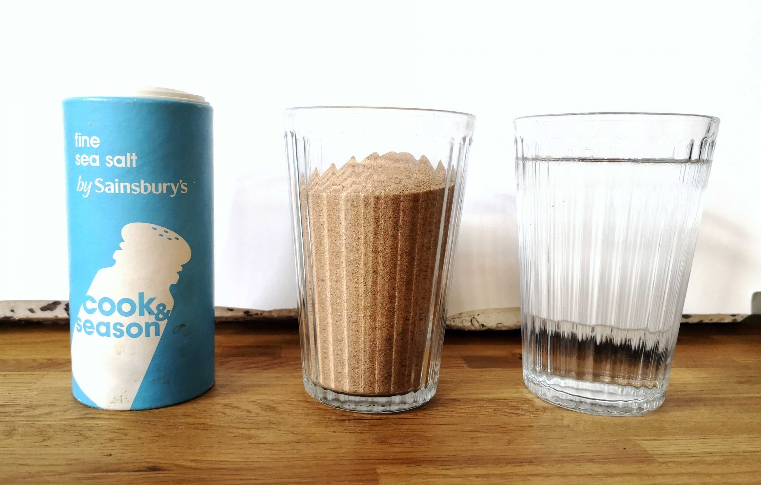 Will's submission to the Great British Photography Challenge shows a carton of sea salt, a glass of sand, and a glass of water side by side.